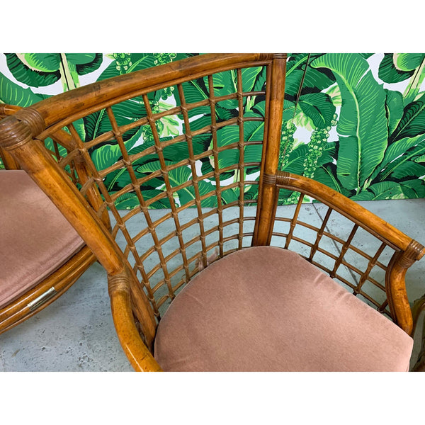 Rattan and Brass Dining Set, Table and 4 Chairs close up