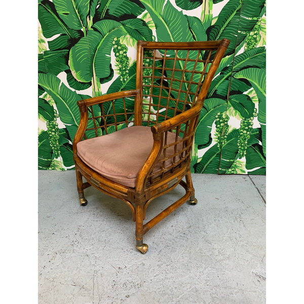Rattan and Brass Dining Chairs, Set of 4 side view