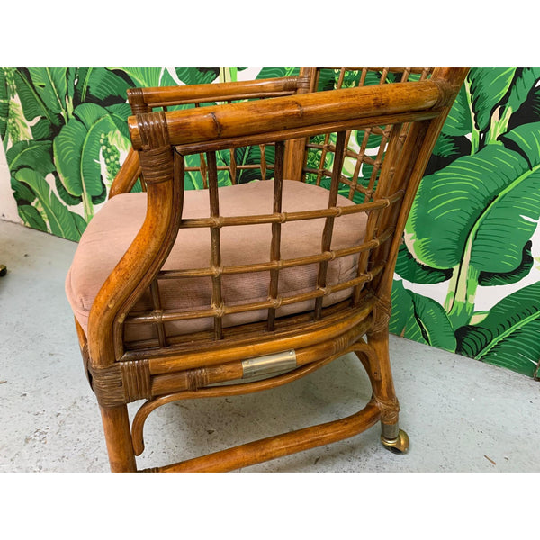 Rattan and Brass Dining Chairs, Set of 4 close up
