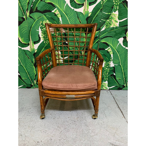 Rattan and Brass Dining Chairs, Set of 4 front view