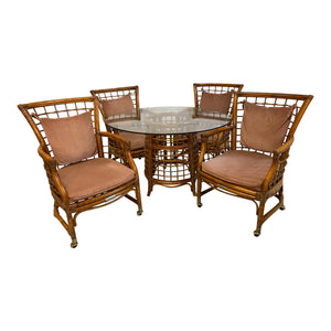 Rattan and Brass Dining Set, Table and 4 Chairs
