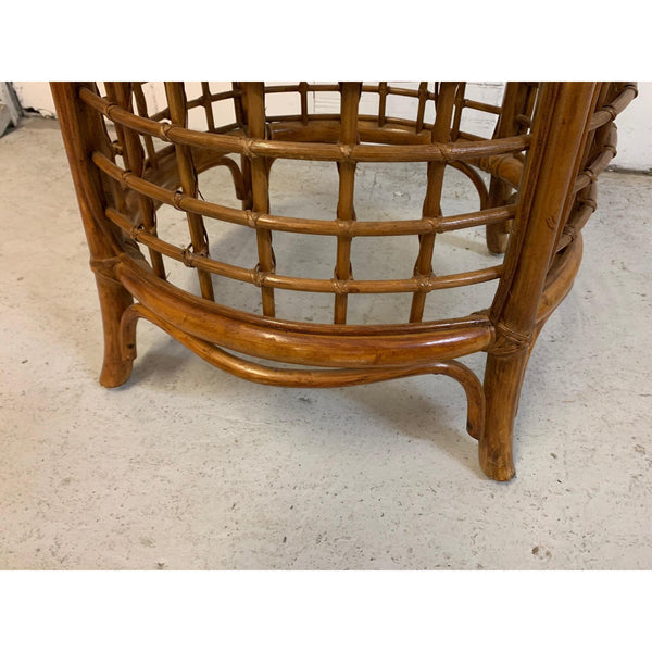 Rattan and Brass Dining Set, Table and 4 Chairs lower view