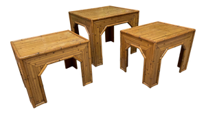 Rattan and Faux Bamboo End Tables, Set of Three