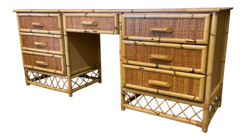 Rattan and Wicker Dresser / Desk / Vanity