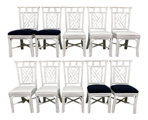 Rattan Asian Chinoiserie Dining Chairs, Set of 10