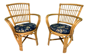 Rattan Bentwood Pretzel Style Club Chairs, a Pair