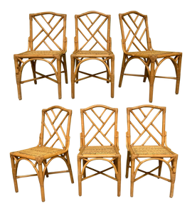 Rattan Chinese Chippendale Dining Chairs, Set of 6
