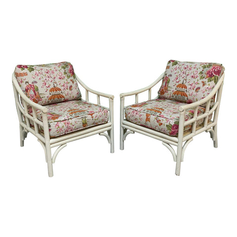 Rattan Chinoiserie Club Chairs, a PairRattan Chinoiserie Club Chairs, a Pair