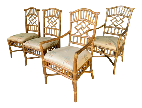 Rattan Chinoiserie Dining Chairs, Set of 4