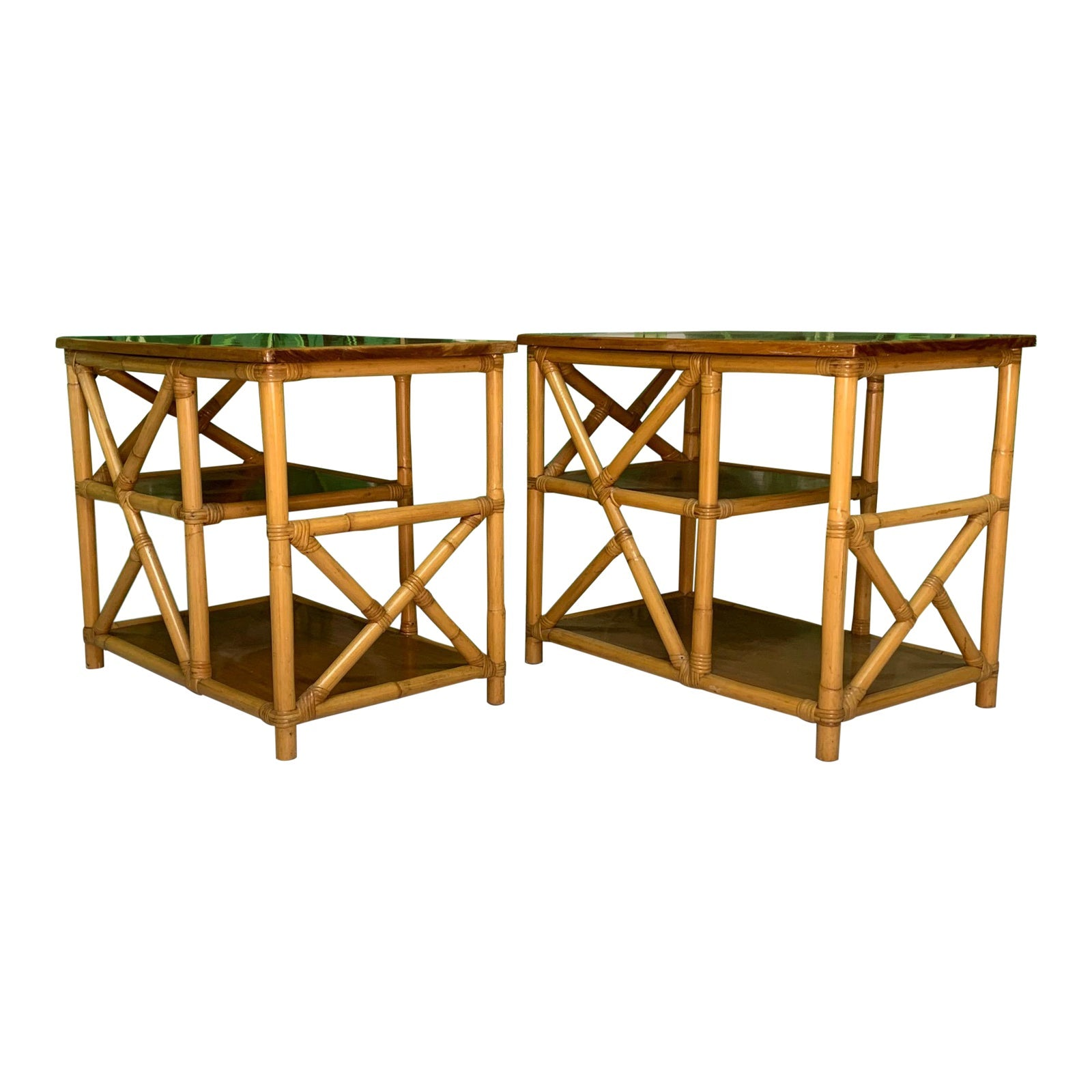 Rattan Chinoiserie Style End Tables