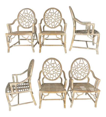 Rattan Cracked Ice Dining Chairs in the Manner of McGuire