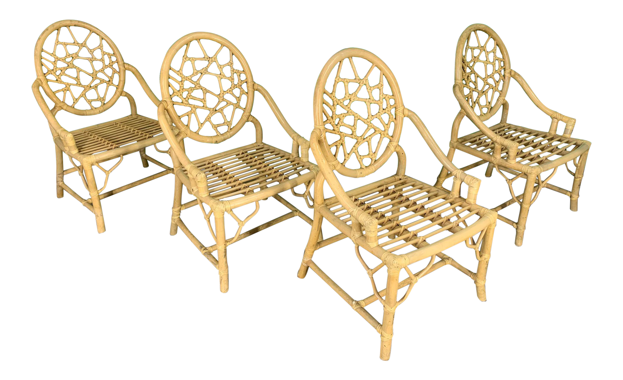 Rattan Cracked Ice Dining Chairs in the Manner of McGuire, Set of 4