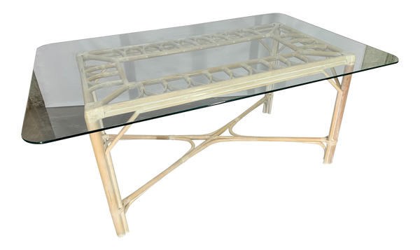 Rattan Glass Top Dining Table