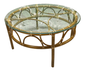 Rattan Glass Top Round Coffee or Cocktail Table