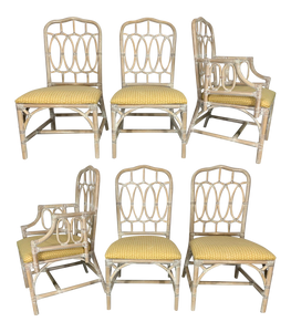 Rattan Loop Back Dining Chairs by Lexington, Set of 6