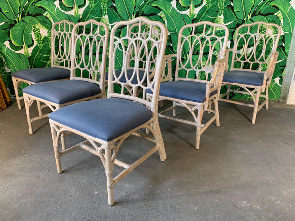 Rattan Loop Back Dining Chairs by Lexington - Set of Six group view