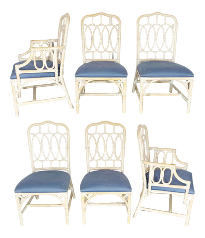 Rattan Loop Back Dining Chairs by Lexington - Set of Six