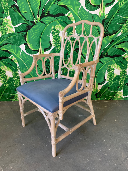 Rattan Loop Back Dining Chairs by Lexington - Set of Six close up