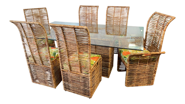 Rattan Rope Wrapped 7-Piece Dining Set