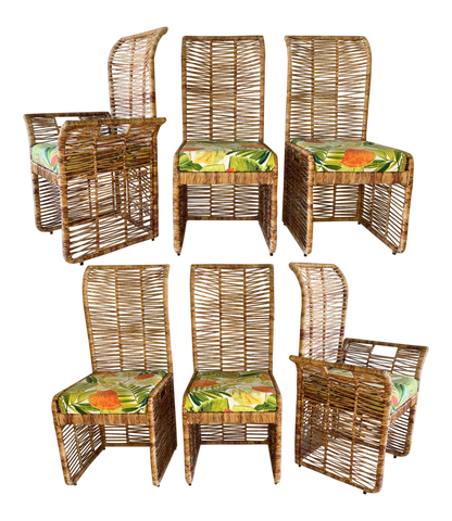 Rattan Rope Wrapped Dining Chairs, Set of 6