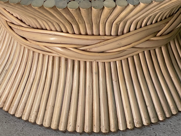 Rattan Sheaf of Wheat Coffee Table in the Manner of McGuire close up