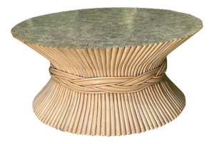 Rattan Sheaf of Wheat Coffee Table in the Manner of McGuire