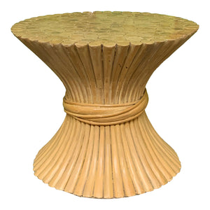 Rattan Sheaf of Wheat Footstool in the Manner of McGuire