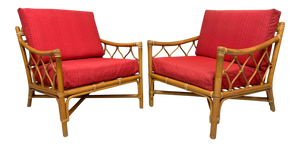 Rattan Tiki Style Chinoiserie Lounge Chairs front view