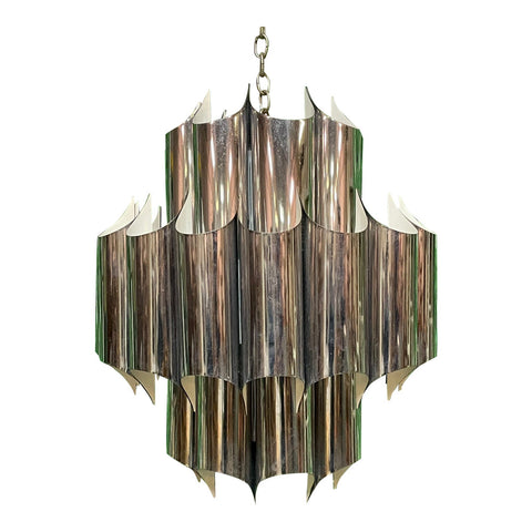 Robert Sonneman Chrome Tube Cathedral Chandelier