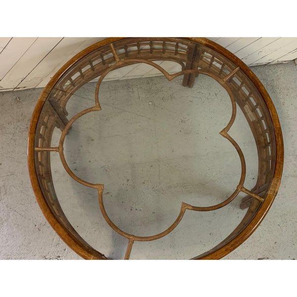 Round Rattan Mid Century Coffee Table top view
