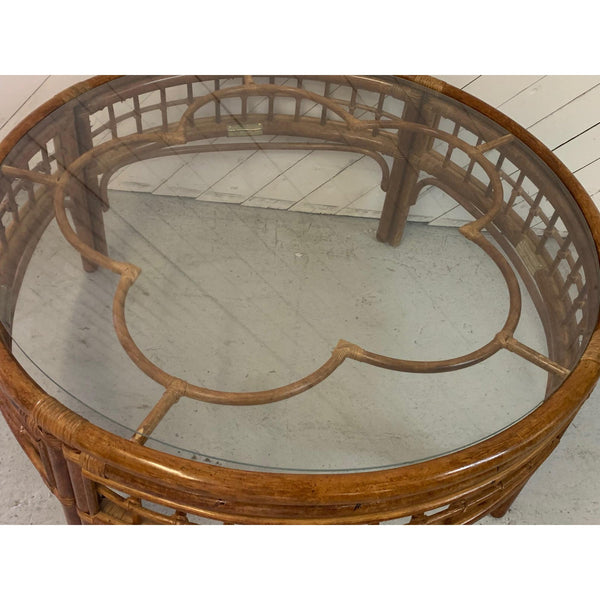 Round Rattan Mid Century Coffee Table side view