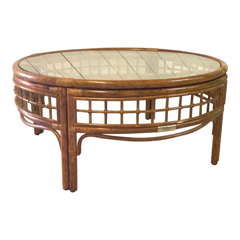 Round Rattan Mid Century Coffee Table