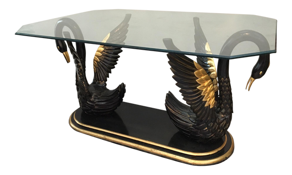 Sculptural Black Swan Statue Dining Table