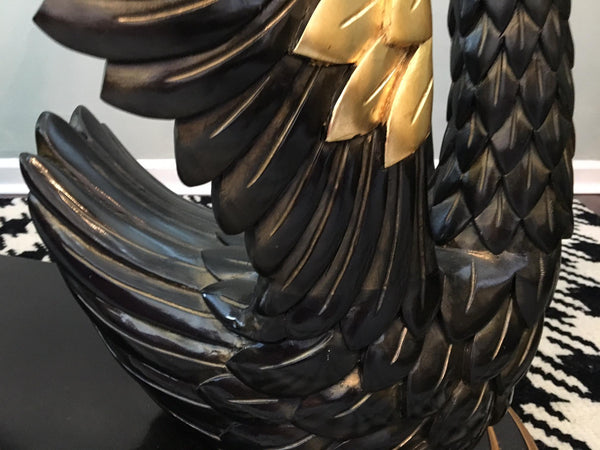 Sculptural Black Swan Statue Dining Table wing close up