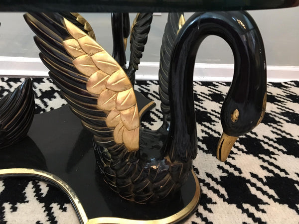 Sculptural Carved Swan Coffee Table close up