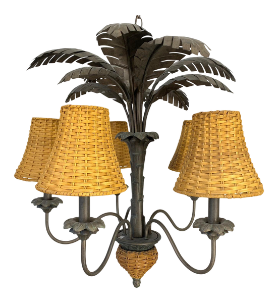 Sculptural Metal Palm Tree Chandelier