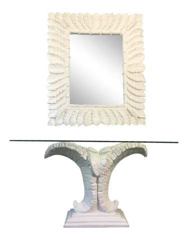 Dorothy Draper Console Table and Mirror