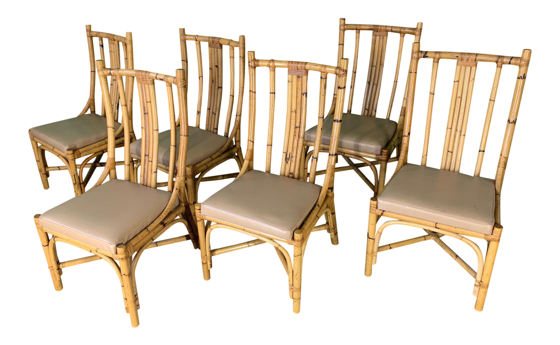 Bentwood Rattan Dining Chairs, Set of 6