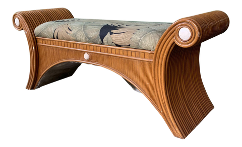 Sculptural Split Reed Bamboo Bench Seat