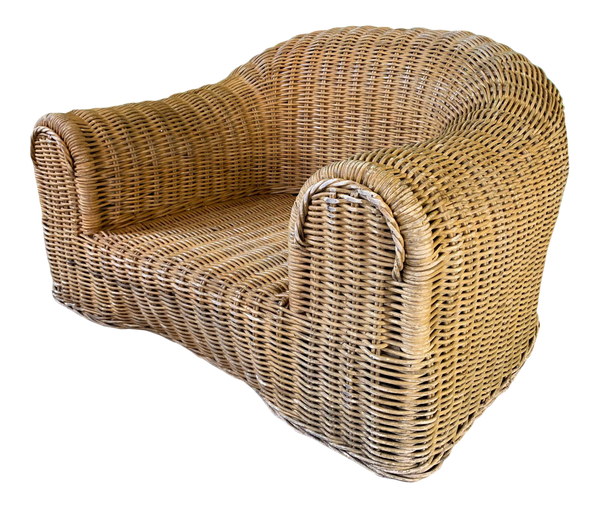 Sculptural Wicker Chair in the Manner of Michael Taylor