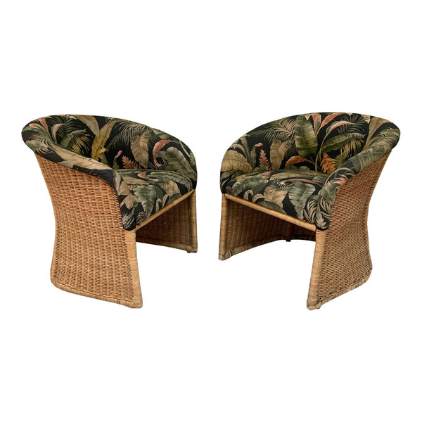 Sculptural Wicker Club Tropical Chairs, a Pair
