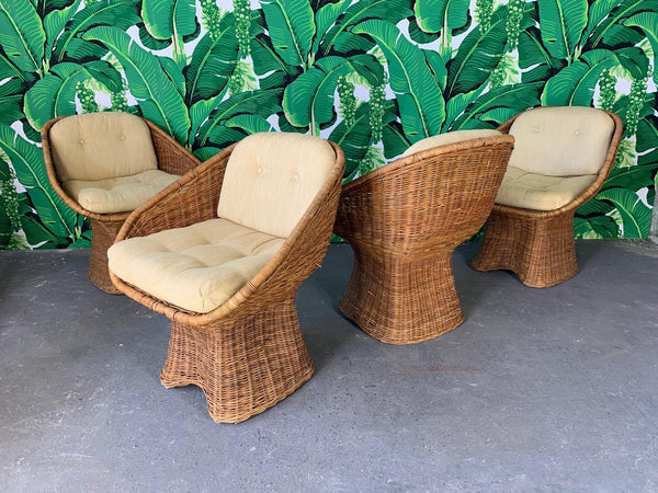 Sculptural Wicker Dining Set, Table and Four Chairs front view