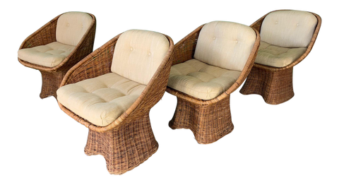 Sculptural Wicker Dining Chairs, Set of 4