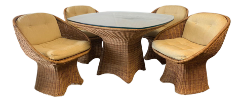 Sculptural Wicker Dining Set, Table and Four Chairs