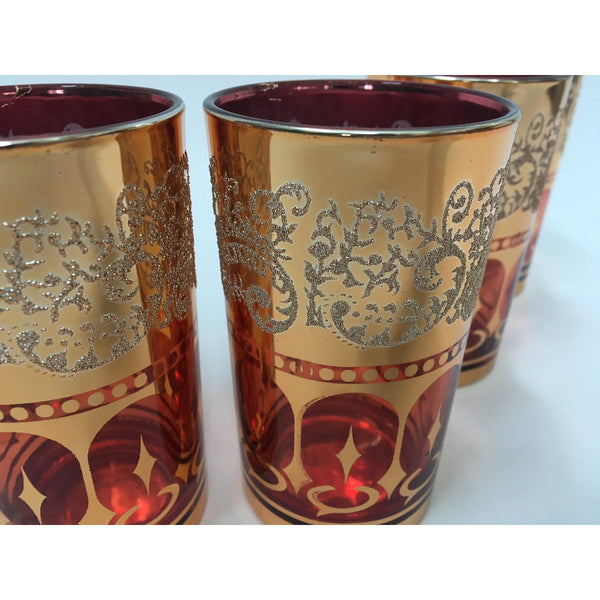 Vintage Dynasty Gold Leaf Barware Glasses in Original Box side view