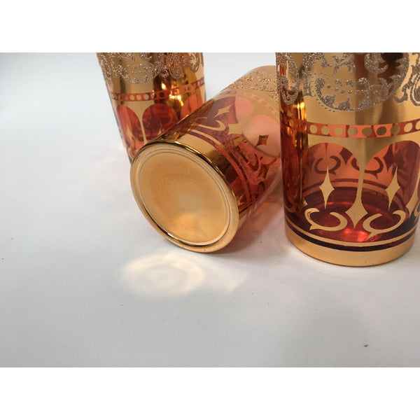 Vintage Dynasty Gold Leaf Barware Glasses in Original Box lower view