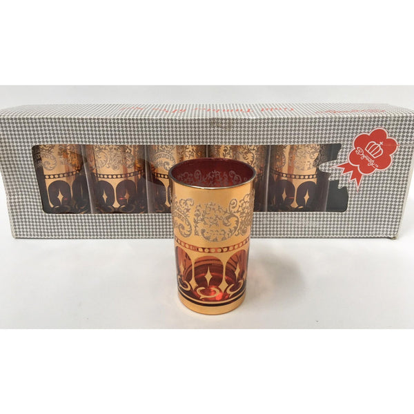 Vintage Dynasty Gold Leaf Barware Glasses in Original Box