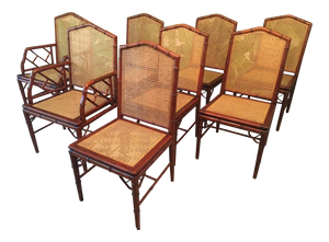Set of Eight Faux Bamboo and Cane Dining Chairs by Designs Ligna