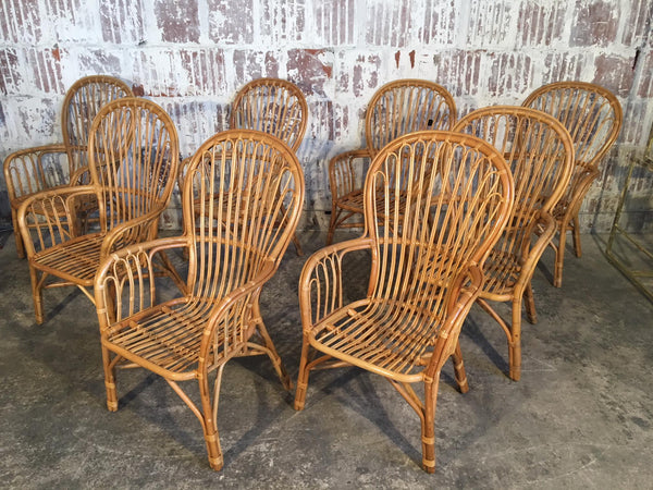 Vintage Rattan Fan Back Dining Chairs