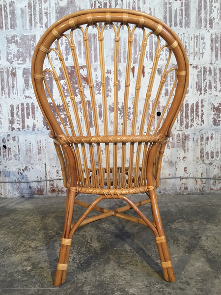 Set of Eight Rattan Fan Back Dining Chairs